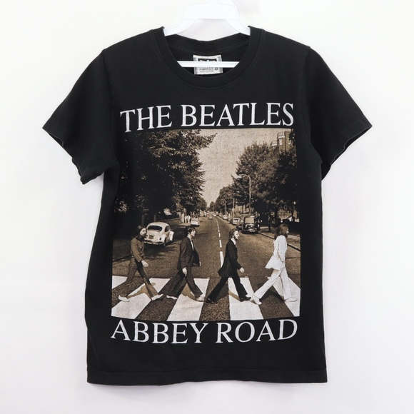 The Beatles Official Distressed Abbey Road /& Logo Mens Black T-Shirt Vintage